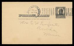 U.S. Scott # UX  19, 1907 1c William McKinley, Square Design, black on buff - Used Postal Card