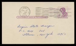 U.S. Scott # UX  48  T2, 1962 4c Abraham Lincoln, Precancelled - Used Postal Card (See Warranty)