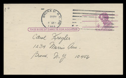 U.S. Scott # UX  48 FM/UPSS #S66B, 1962 4c Abraham Lincoln, Precancelled - Used Postal Card, FLUORESCENT (Medium Bright) PAPER (See Warranty)