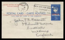 U.S. Scott # UX  49, 1963 7c Map of the United States - Used Postal Card