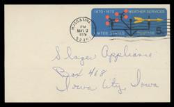 U.S. Scott # UX  57, 1970 5c Weather Services, 100th Anniversary - Used Postal Card