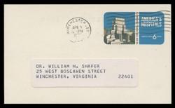 U.S. Scott # UX  60, 1971 6c America's Hospitals - 200th Anniv. New York Hospital - Used Postal Card