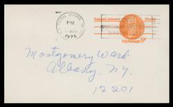 U.S. Scott # UX  66aFM/UPSS #S83bFM, 1973 6c Samuel Adams - Patriot Series - Used Postal Card, FLUORESCENT (Medium Bright) PAPER (See Warranty)