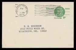 U.S. Scott # UX  72, 1977 9c Nathan Hale - Patriot Series - Used Postal Card