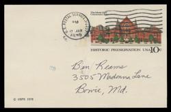 U.S. Scott # UX  73, 1978 10c Cincinnati Music Hall - Used Postal Card, DULL PAPER