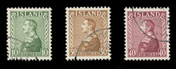 ICELAND Scott #  199-201, 1937 King Christian X, 25th Anniversary, USED (Set of 3)