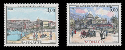 MONACO Scott #1385-6, 1983 Beach & Café, Paintings by Hubert Clerissi (Set of 2)