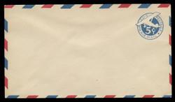 U.S. Scott # UC  2/10, UPSS #AM8/28A 1929 5c Blue Plane (Tail Upright), Border Type b/2  - Mint (See Warranty)