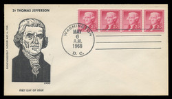 U.S. Scott # 1055b, 2c Thomas Jefferson, Tagged Coil, Plate # Strip of 4 on FDC, Newly-Discovered Large Hole Variety