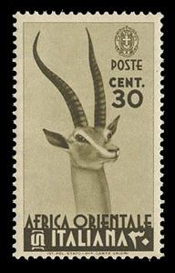 ITALIAN EAST AFRICA Scott #  8, 1938 30c olive brown Grant's Gazelle