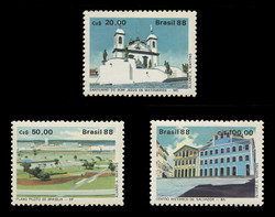 BRAZIL Scott # 2135-7, 1988 LUBRAPEX '88 World Heritage List (Set of 3)