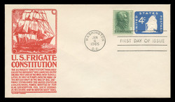 U.S. Scott #U549 4c Old Ironsides Envelope First Day Cover.  Anderson cachet, RED variety.