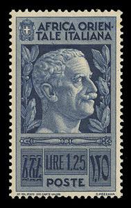 ITALIAN EAST AFRICA Scott # 13, 1938 1.25 lire deep blue Victor Emmanuel III