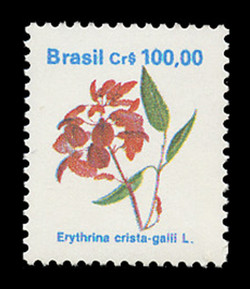 BRAZIL Scott # 2266, 1990 100cr Erythrina crista-galli L.