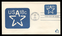 U.S. Scott #U593 18c Star Envelope First Day Cover.  Andrews cachet.