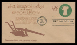 U.S. Scott #U573 13c Bicentennial - American Farmer Envelope First Day Cover.  Anderson cachet, BROWN variety.