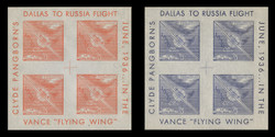 1936 (001) Clyde Pangborn Dallas to Russia Flight Poster Stamp Souvenir Sheets -  Set of 2