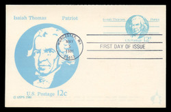 U.S. Scott #UY32a 12c Isaiah Thomas Reply Card First Day Cover.  Andrews cachet.  FDOI Cancel on the Large Die, Bullseye Cancel on the small die.