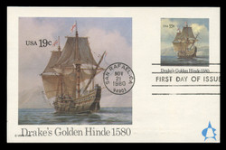U.S. Scott #UX86 19c Drake's Golden Hinde Postal Card First Day Cover.  Andrews cachet.