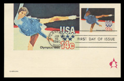U.S. Scott #UX82 14c 1980 Winter Olympics Postal Card First Day Cover.  Andrews cachet.