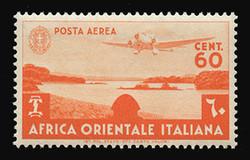 ITALIAN EAST AFRICA Scott # C 3, 1938 60c red orange Airplane over Lake Tsana