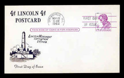 U.S. Scott #UX48 4c Abraham Lincoln Postal Card First Day Cover.  Centennial cachet.