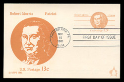 U.S. Scott #UY34 13c Robert Morris Reply Card First Day Cover.  Andrews cachet.