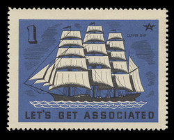 """Associated Oil Company Poster Stamps of 1938-9 - #  1, The """"Flying Cloud"""""""