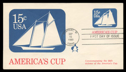 U.S. Scott #U598 15c America's Cup Envelope First Day Cover.  Andrews cachet.