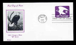 "U.S. Scott #U592 (18c) ""B"" Eagle Envelope First Day Cover.  Lorstan  cachet."