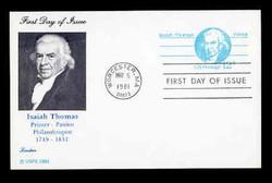 U.S. Scott #UX 89 12c Isaiah Thomas Postal Card First Day Cover.  Lorstan cachet.