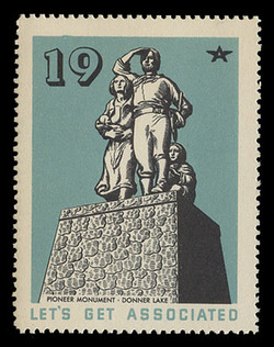 Associated Oil Company Poster Stamps of 1938-9 - # 19, Pioneer Monument, Donner Lake