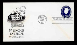 U.S. Scott #U544 5c Abraham Lincoln Envelope First Day Cover.  Centennial cachet.