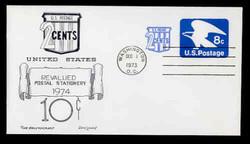 U.S. Scott #U566 8c (U557) + 2c Eagle Envelope First Day Cover.  Day Lowry Aristocrat cachet.