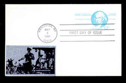 U.S. Scott #UX 89 12c Isaiah Thomas Postal Card First Day Cover.  Sarzin Metallic (2) cachet.