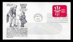 U.S. Scott #U581 15c Uncle Sam Hat WINDOW Envelope First Day Cover.  Aristocrat cachet.