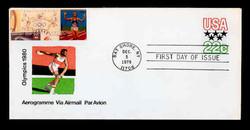 U.S. Scott #UC52 22c 1980 Olympics Envelope First Day Cover.  Sarzin Quadrocolorplus cachet.