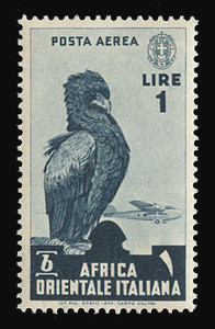 ITALIAN EAST AFRICA Scott # C 5, 1938 1.00 lire slate blue Bataleur Eagle