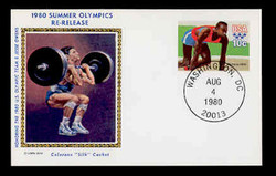 U.S. Scott #UX 80 10c 1980 Summer Olympics RE-ISSUE Postal Card First Day Cover. Colorano cachet.