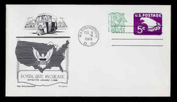 U.S. Scott #U553a 5c (U550) + 1c Eagle-Tagged Envelope First Day Cover.  Day Lowry Aristocrat cachet.
