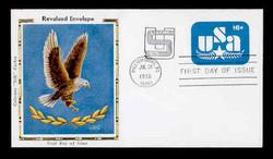 U.S. Scott #U586 15c on 16c U.S.A. & Star Envelope First Day Cover.  Colorano cachet.