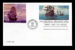 U.S. Scott #UX101 13c Ark & Dove, Maryland Postal Card First Day Cover.  Sarzin Quadrocolorplus cachet.