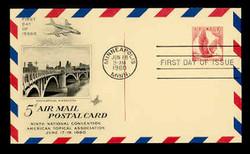 U.S. Scott #UXC 3 5c Eagle with Broken Line Postal Card First Day Cover.  Artcraft cachet.