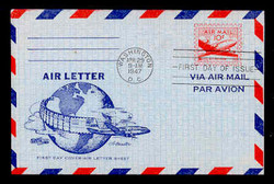 U.S. Scott #UC16 10c Plane Air Letter Sheet First Day Cover.  Artmaster cachet.