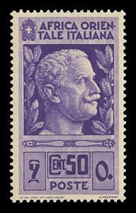 ITALIAN EAST AFRICA Scott # 10, 1938 50c purple Victor Emmanuel III