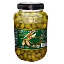 Attica Green Cracked Olives 2lb Jar
