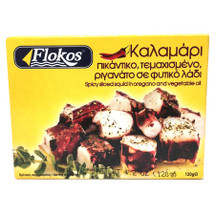 Flokos Spicy Calamari in Oregano and Vegetable Oil 120g Can