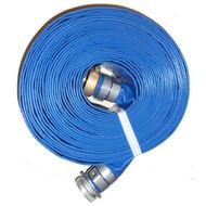 """HA BD1550-T Blue 1.50"""" x 50' PVC  Discharge Hose M x F Suction (Screw) Couplings"""