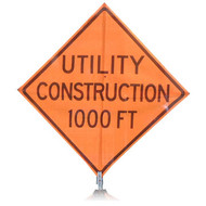 "B A4SU0897 SG ""UTILITY CONSTRUCTION  1000FT""  Standard Grade 48"" Roll-Up Sign"