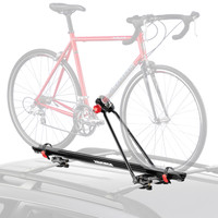 yakima raptor aero bicycle roof rack accommodates disc brakes and through axles